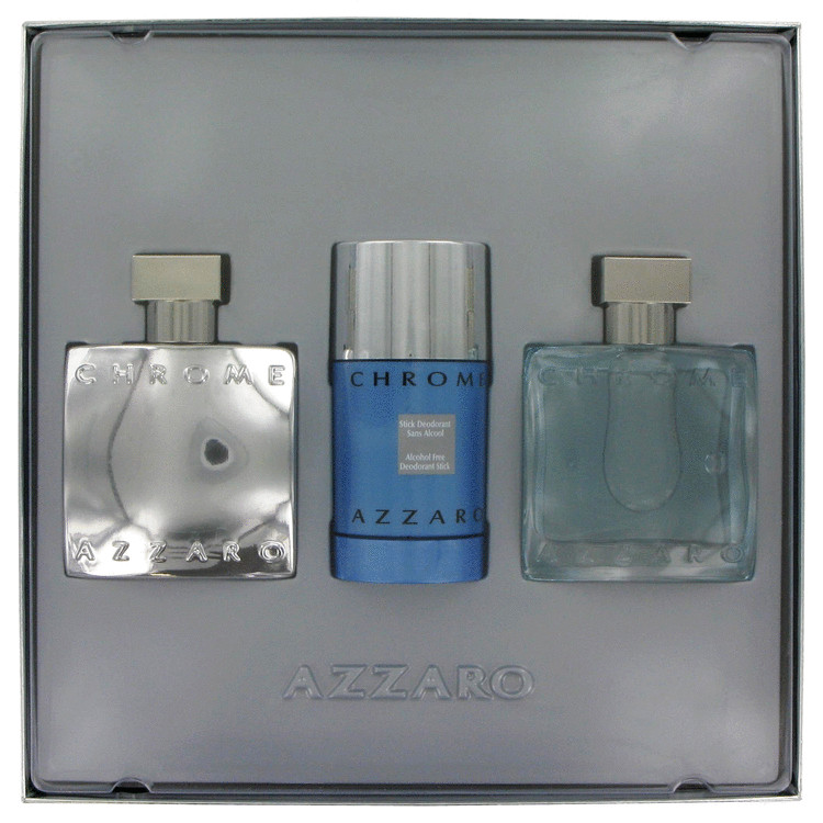 Chrome Gift Set -- Gift Set - 1.7 oz Eau De Toilette Spray (Chromitized Edition ) + 1.7 oz After Shave Lotion + 2.7 oz Deodorant Stick for Men
