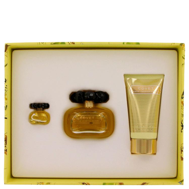 Covet Gift Set -- Gift Set - 3.4 oz Eau De Parfum Spray + 2.5 oz Body Lotion + .17 Mini EDP for Women