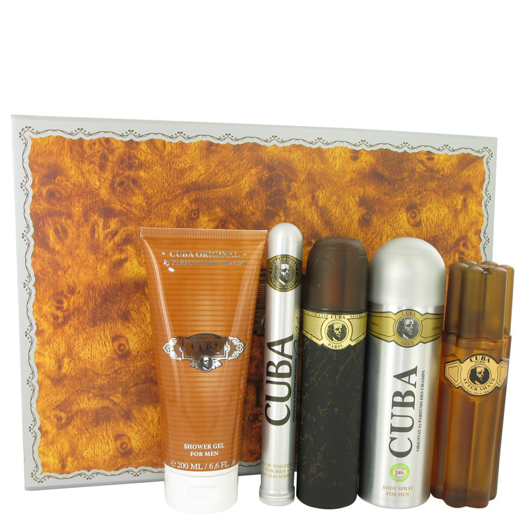 Cuba Gold Gift Set -- Gift Set - 3.3 oz Eau De Toilette Spray + 3.3 oz After Shave Spray + 6.7 oz Body Deodorant Spray + 6.7 oz Shower Gel +  1.17 oz