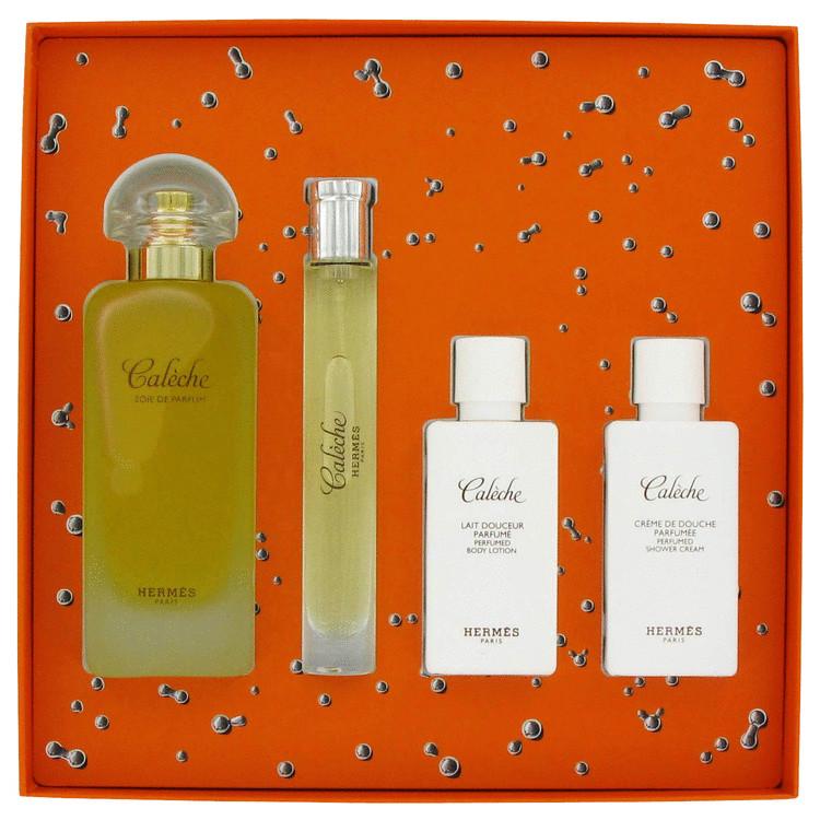 Caleche Gift Set -- Gift Set - 3.4 oz Eau De Parfum Spray + 1.35 oz Body Lotion + 1.35 oz Shower Gel + .42 oz Mini EDT Spray for Women