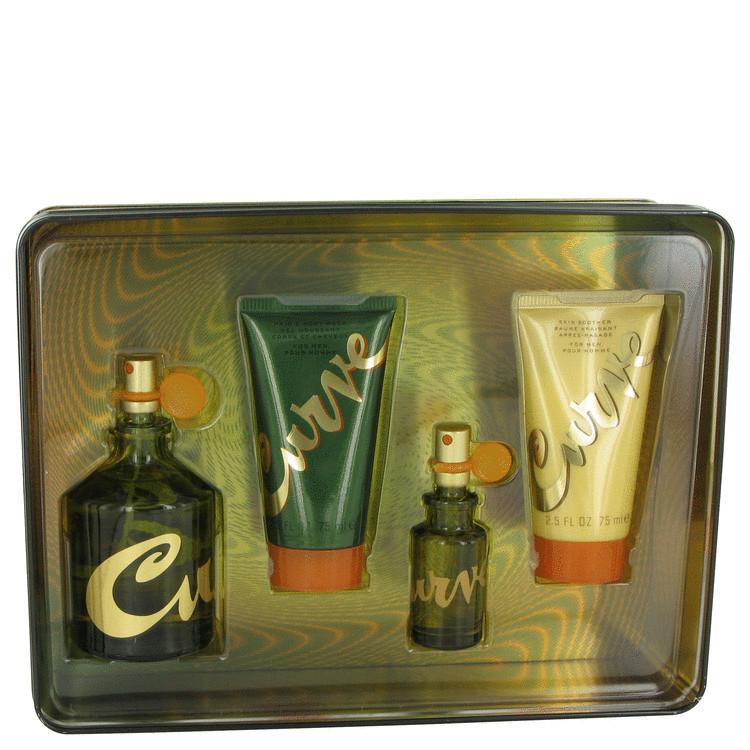 Curve for Men, Gift Set (4.2 oz Cologne Spray + .5 oz  Cologne Spray + 2.5 oz Skin Soother + 2.5 oz Hair & Body Wash)