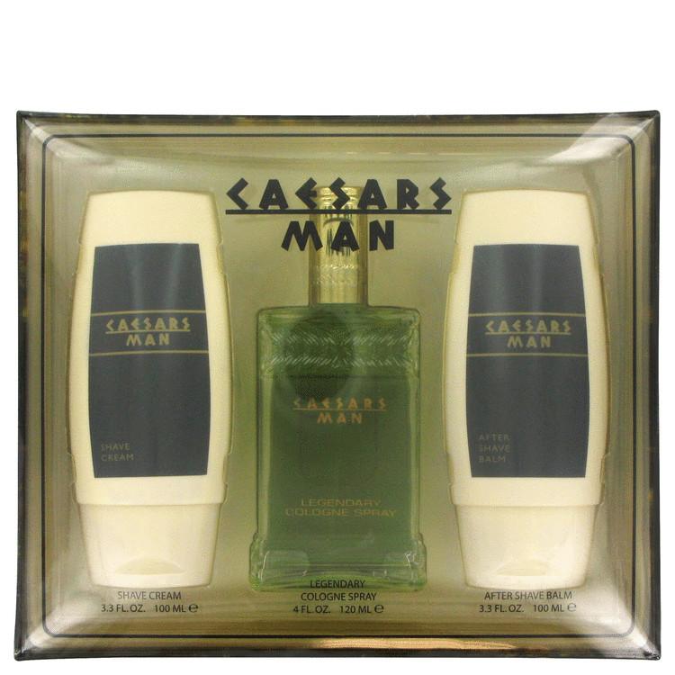Caesars Gift Set -- Gift Set - 4 oz Cologne Spray + 3.4 oz After Shave Balm + 3.4 oz Shave Cream for Men
