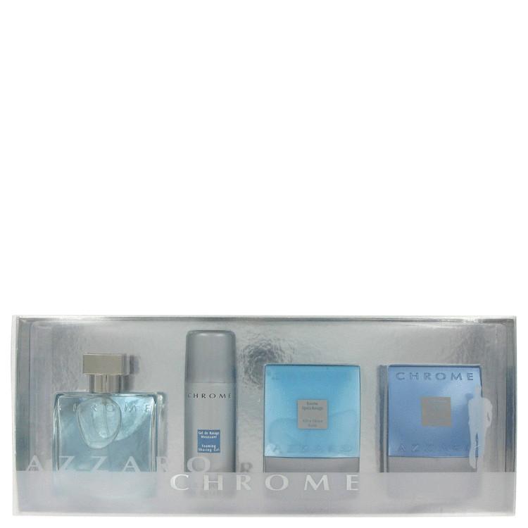 Chrome Gift Set -- Gift Set - 1.7 oz Eau De Toilette Spray + 2.6 oz After Shave Balm + 2.6 oz Body Shampoo + 1.4 oz Foaming Shave Gel for Men
