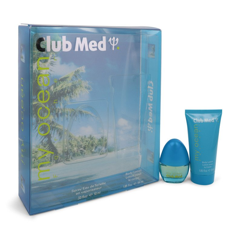Club Med My Ocean by Coty Women's Gift Set -- .33 oz Mini EDT Spray + 1.85 oz Body Lotion