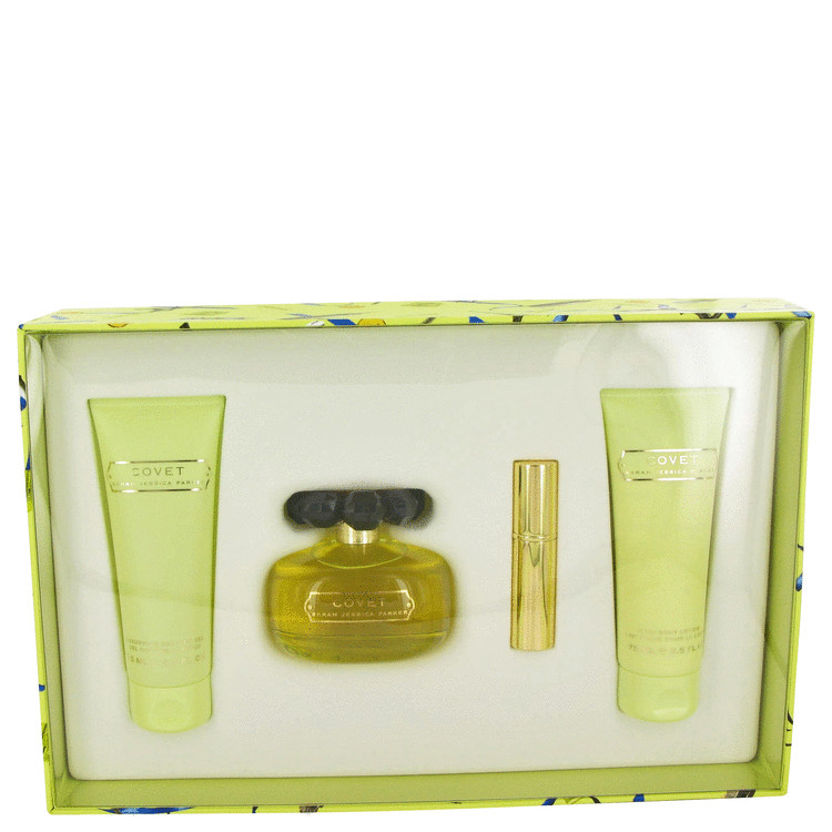 Covet Gift Set -- Gift Set - 3.4 oz Eau De Parfum Spray + 2.5 oz Body Lotion + 2.5 oz Shower Gel + .13 oz Mini EDP Travel Spray for Women