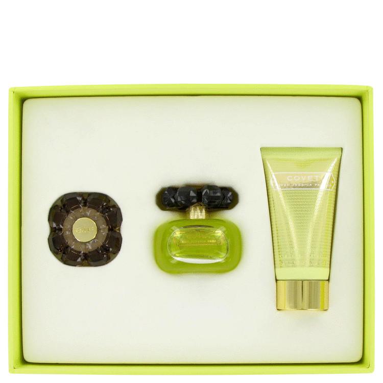 Covet Gift Set -- Gift Set - 1.7 oz Eau De Parfum Spray + 2.5 oz Body Lotion + .08 oz Solid Perfume in Gift Box for Women