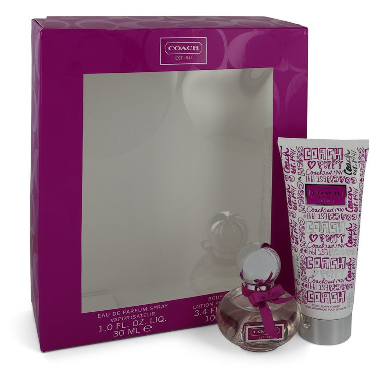 Coach Poppy Flower Gift Set -- Gift Set - 1 oz eau De Parfum Spray + 3.4 oz Body Lotion for Women