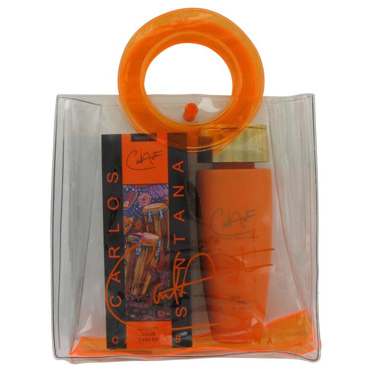 Carlos Santana Gift Set -- Gift Set - 3.4 oz Eau De Parfum Spray + 6.7 oz Body Lotion in Bag for Women