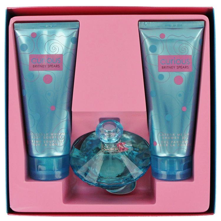 Curious Gift Set -- Gift Set - 3.4 oz Eau De Parfum Spray + 6.7 oz Body Souffle Crèam + 6.8 oz Shower Gel for Women