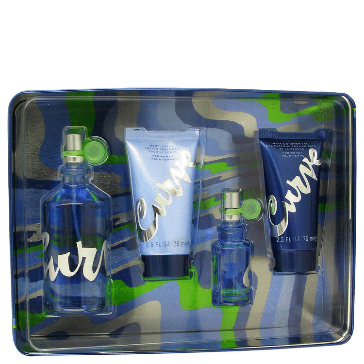 Curve Gift Set -- Gift Set - 3.4 oz Eau De Toilette Spray + .5 oz Mini EDT Spray + 2.5 oz Body Lotion + 2.5 oz Shower Gel for Women