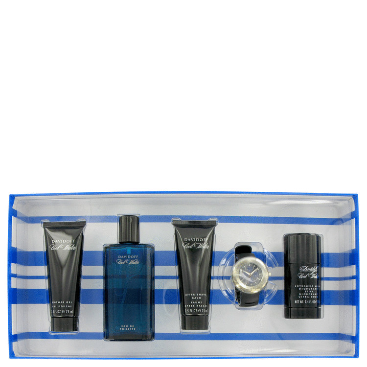 Cool Water Gift Set -- Gift Set - 4.2 oz Eau De Toilette Spray + 2.5 oz After Shave Balm + 2.4 oz Deodorant Stick + 2.5 oz Shower Gel + Free Watch for