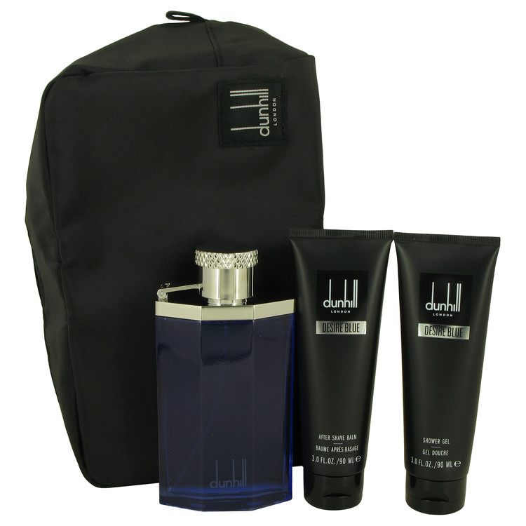 Desire Blue Gift Set -- Gift Set - 3.4 oz Eau DE Toilette Spray + 3 oz Shower Gel + 3 oz After Shave Balm + Bag for Men