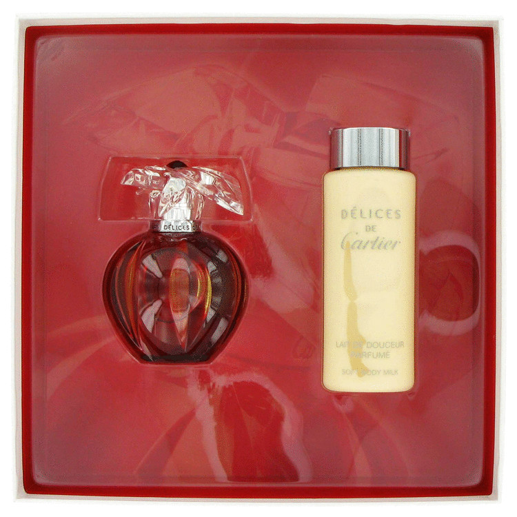 Delices De Cartier Gift Set -- Gift Set - 1.6 oz Eau De Toilette Spray + 3.4 oz Body Lotion for Women