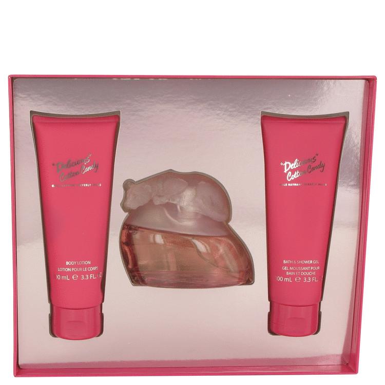 Delicious Cotton Candy Gift Set -- Gift Set - 3.3 oz Eau De Toilette Spray + 3.3 oz Body Lotion + 3.3 oz Shower Gel for Women