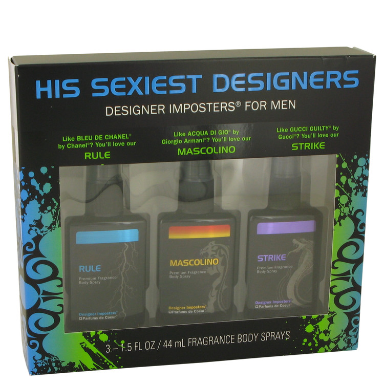 Designer Imposters Mascolino by Parfums De Coeur for Men Gift Set -- Sexiest Designers Set Includes Rule, Mascolino and Strike a