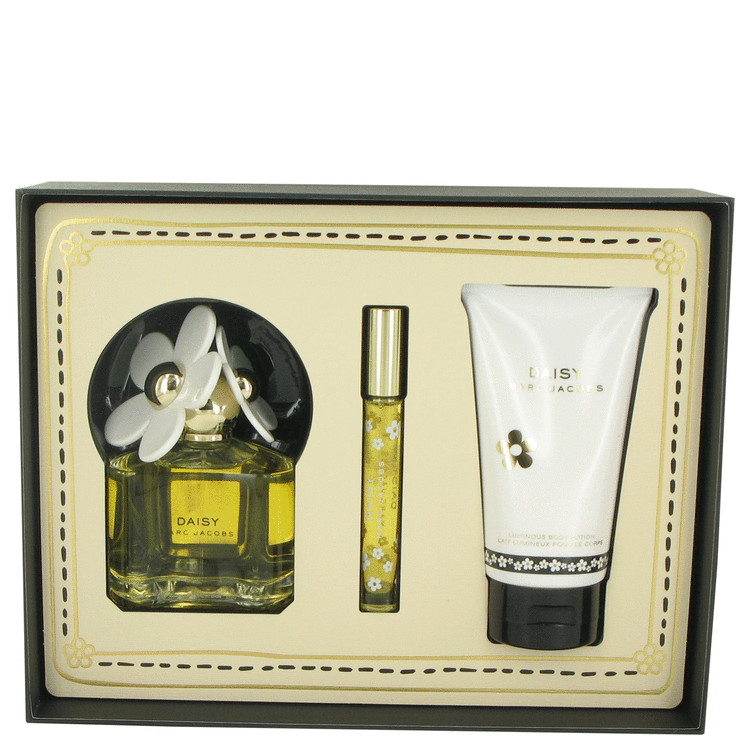 Daisy Gift Set -- Gift Set - 3.4 oz Eau De Toilette Spray + 5.1 oz Luminous Body Lotion + .33 oz Mini EDT Rollerball for Women