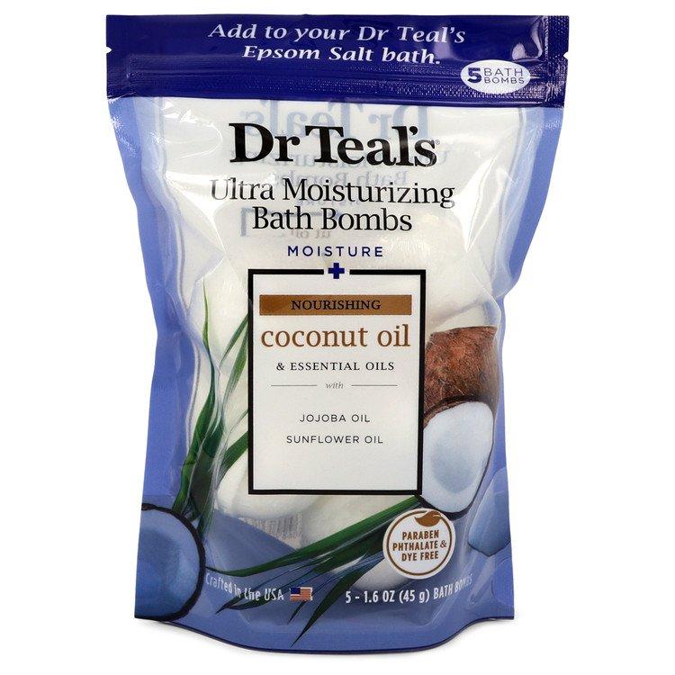 Dr Teal's Ultra Moisturizing Bath Bombs by Dr Teal's –  Five (5) 1.6 oz Moisture Rejuvinating Bath Bombs with Coconut oil, Essential Oils, Jojoba Oil, Sunfower Oil (Unisex) 1.6 oz 50 ml