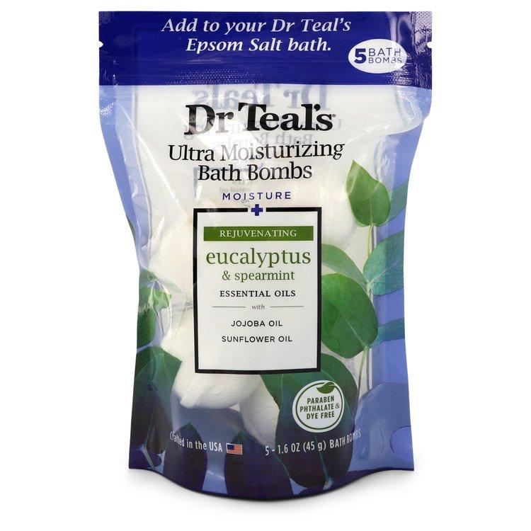 Dr Teal's Ultra Moisturizing Bath Bombs by Dr Teal's –  Five (5) 1.6 oz Moisture Rejuvinating Bath Bombs with Eucalyptus & Spearmint, Essential Oils, Jojoba Oil, Sunflower Oil (Unisex) 1.6 oz 50 ml