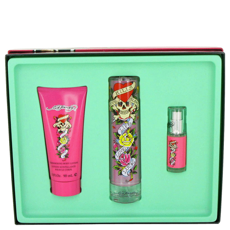 Ed Hardy Gift Set -- Gift Set - 3.4 oz Eau De Parfum Spray + 3 oz Shimmer Body Lotion for Women
