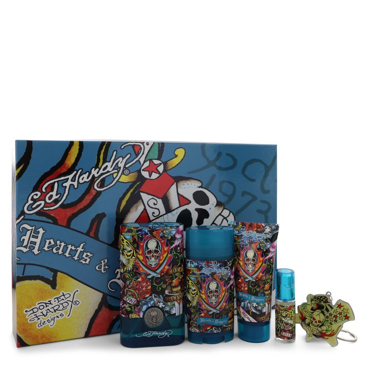 Ed Hardy Hearts & Daggers Gift Set -- Gift Set - 3.4 oz Eau De Toilette Spray + 3 oz Shower Gel + 2.75 oz Deodorant Stick + .25 oz Mini EDT Spray + Fr