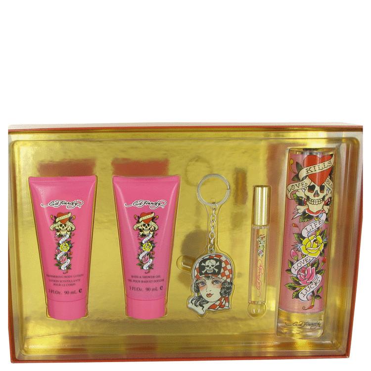 Ed Hardy Gift Set -- Gift Set - 3.4 oz Eau De Parfum Spray + 3 oz Shower Gel + 3 oz Body Lotion +.34 oz Mini EDP  Roller Ball + Ed Hardy  Key Chain fo
