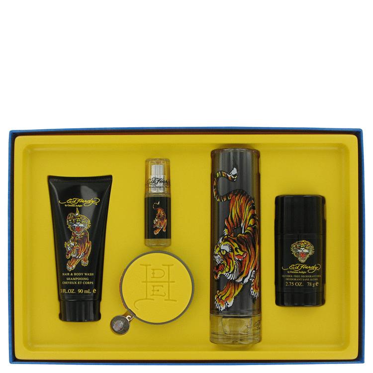 Ed Hardy Gift Set -- Gift Set - 3.4 oz Eau De Toilette Spray + 3 oz Body Wash + 2.5 oz Deodorant Stick + Mini + Bracelet for Men
