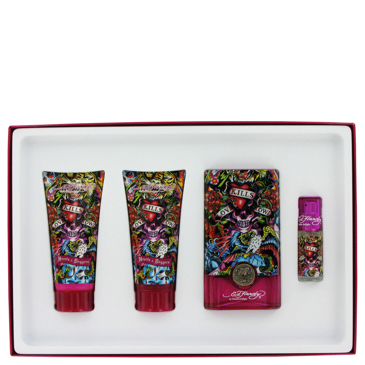Ed Hardy Hearts & Daggers Gift Set -- Gift Set - 3.4 oz Eau De Parfum Spray + 3 oz Body Lotion + 3 oz Shower Gel + .25 oz Mini EDP + Luggage Tag for W