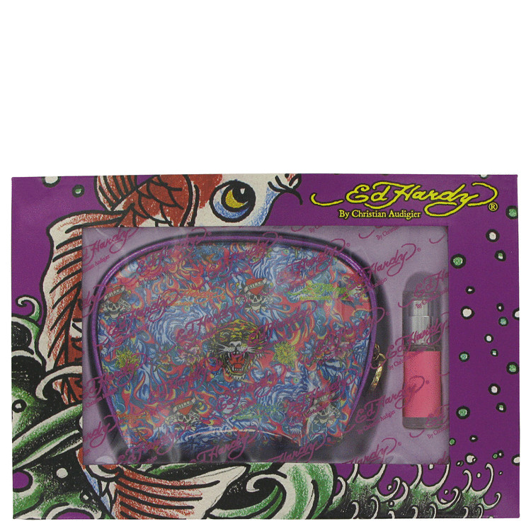 Ed Hardy Gift Set -- Gift Set - .25 oz Mini EDP Spray + Ed Hardy Cosmetic Bag for Women