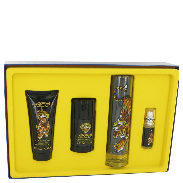 Ed Hardy Gift Set -- Gift Set - 3.4 oz Eau DeToilette Spray + .25 oz Mni EDT Spray + 3 oz Shower Gel + 2.75 oz Deodorant Stick + Luggage Tag for Men