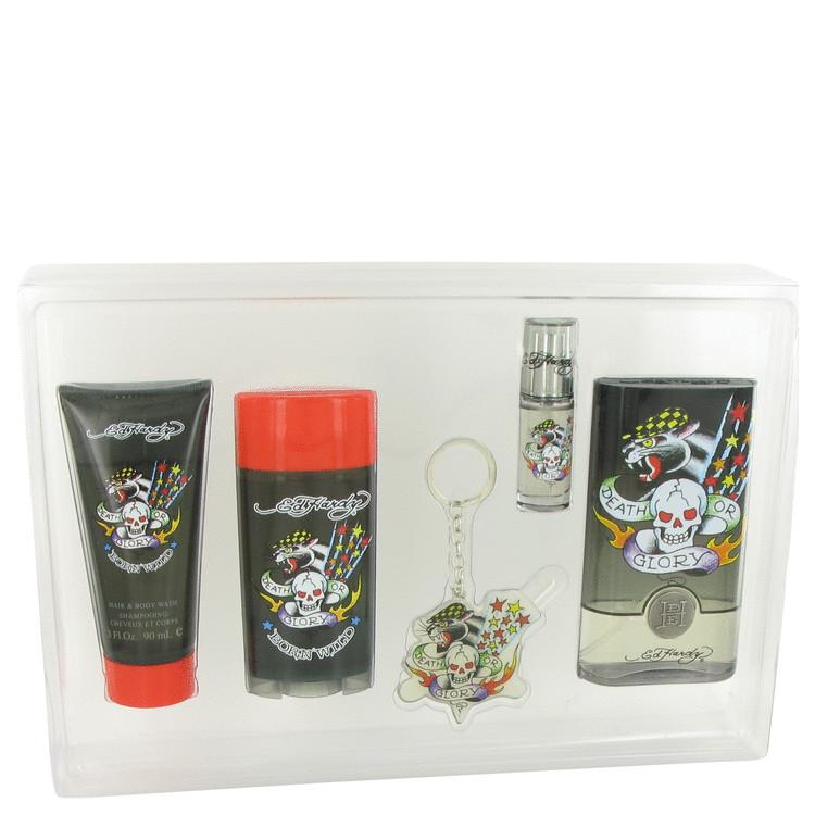 Ed Hardy Born Wild Gift Set -- Gift Set - 3.4 oz Eau De Toilette Spray + 3 oz Shower Gel + .25 oz Mini EDT  Spray + 2.75 oz Deodorant Stick +  Tattoo