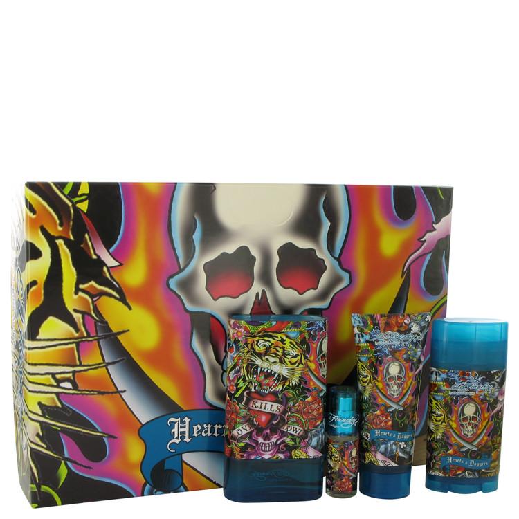 Ed Hardy Hearts & Daggers Gift Set -- Gift Set - 3.4 oz Eau De Toilette Spray + 3 oz Shower Gel + 2.75 oz Deodorant Stick + .25 oz Mini EDT Spray for