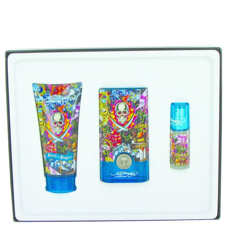 Ed Hardy Hearts & Daggers Gift Set -- Gift Set - 1.7 oz Eau De Toilette Spray + 3 oz Shower Gel + .25 oz Mini EDT Spray for Men