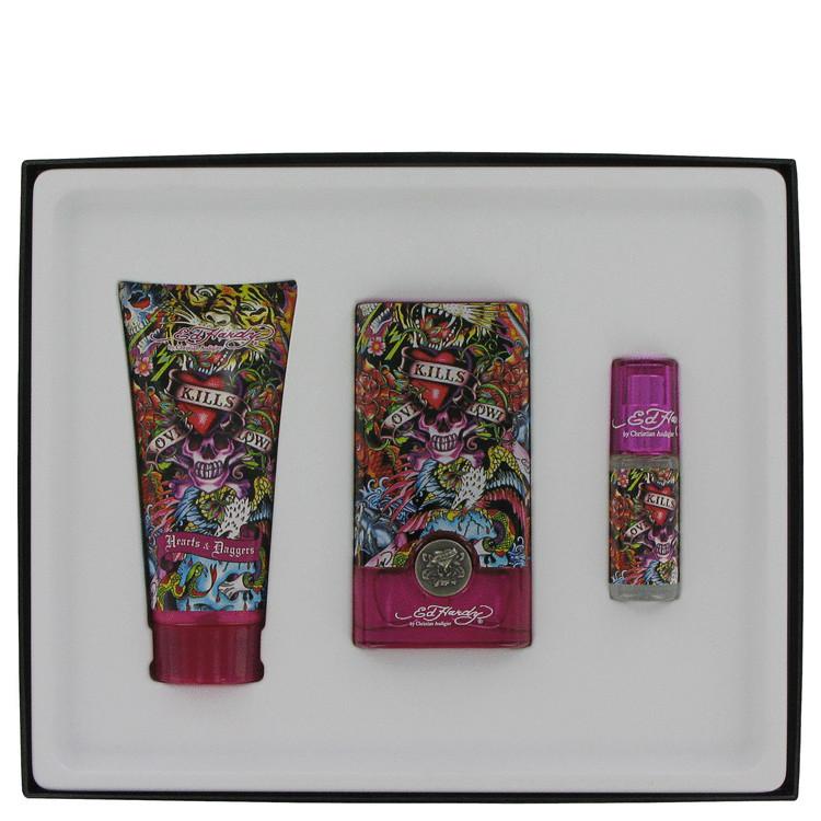Ed Hardy Hearts & Daggers Gift Set -- Gift Set - 1.7 oz Eau De Parfum Spray +3 oz Body Lotion + .25oz Mini EDP Spray for Women