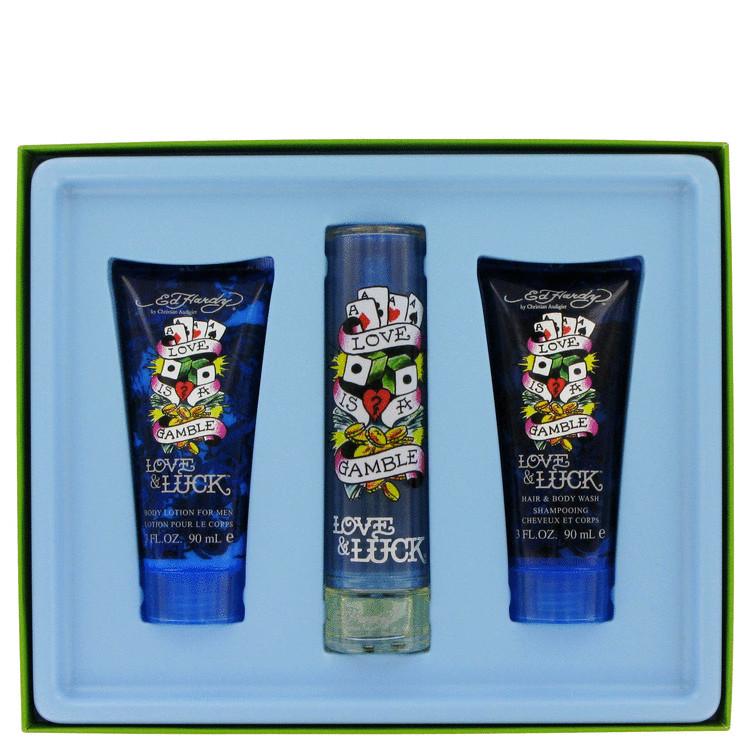 Love & Luck Gift Set -- Gift Set - 1.7 oz Eau De Toilette Spray + 3 oz Body Lotion + 3 oz Hair & Body Wash for Men