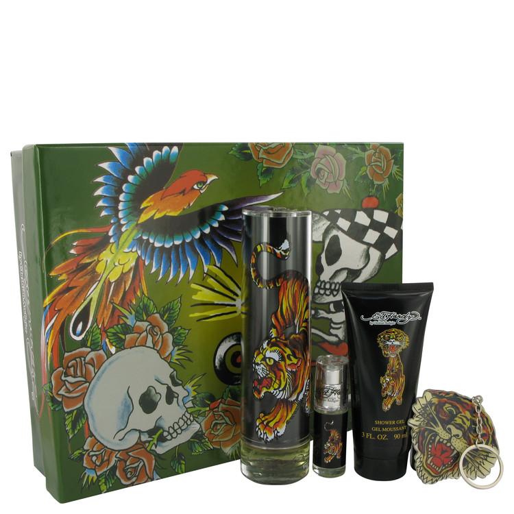 Ed Hardy Gift Set -- Gift Set - 3.4 oz Eau De Toilette Spray + 3 oz Shower Gel + .25 oz Mini EDT + Keychain for Men