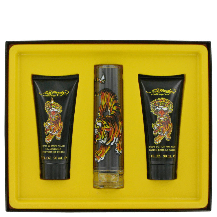Ed Hardy Gift Set -- Gift Set - 1.7 oz Eau De Toilette Spray + 3.3 oz Shower Gel + 3.3 oz Body Lotion for Men