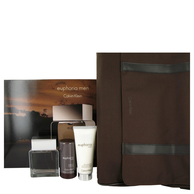 Euphoria for Men, Gift Set (3.4 oz EDT Spray + 3.4 oz After Shave Balm + 2.5 oz Deodorant Stick in Designer Messenger Bag)