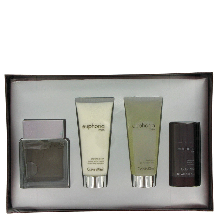 Euphoria for Men, Gift Set (3.4 oz EDT Spray + 3.4 oz After Shave Balm + 3.4 oz Body Wash + 2.6 oz Deodorant Stick)