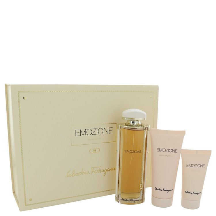 Emozione Gift Set -- Gift Set - 3.1 oz Eau De Parfum Spray + 1.7 oz Body Lotion + 3.4 oz Shower Gel for Women