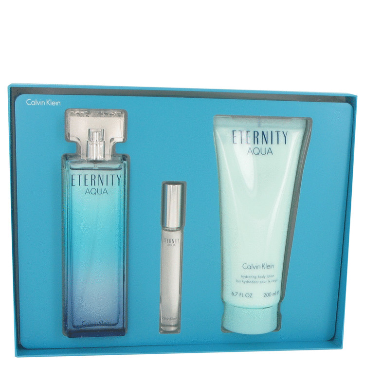 Eternity Aqua for Women, Gift Set (3.4 oz EDP Spray + 6.7 oz Body Lotion + .33 oz Mini EDP Roller Ball)