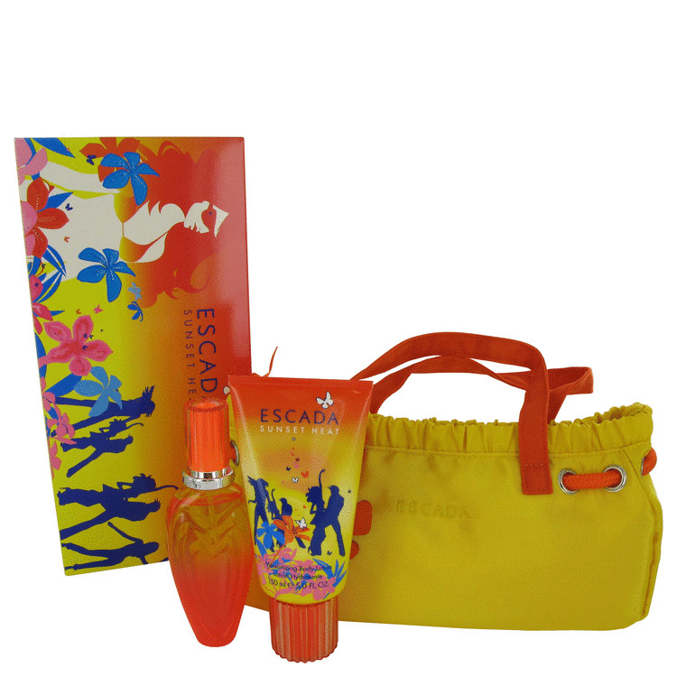Escada Sunset Heat for Women, Gift Set (1.7 oz EDT Spray + 5 oz Body Lotion + Bag)