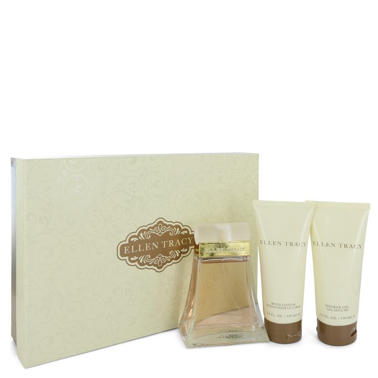 Ellen Tracy Gift Set -- Gift Set - 3.4 oz Eau De Parfum Spray + 3.4 oz Body Lotion + 3.4 oz Shower Gel for Women