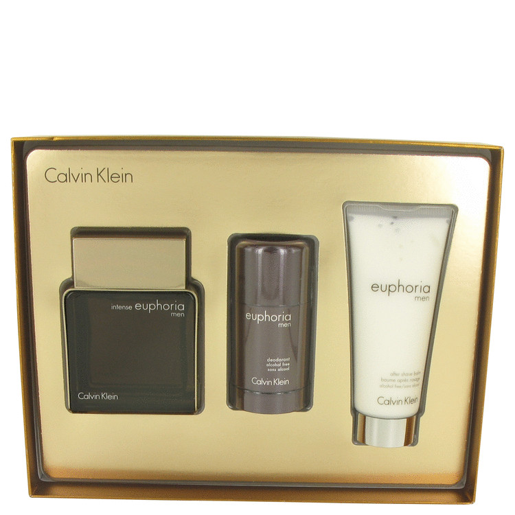 Euphoria Intense for Men, Gift Set (3.3 oz EDT Spray + 2.6 oz Alcohol Free Deodorant Stick + 3.4 oz After Shave Balm)
