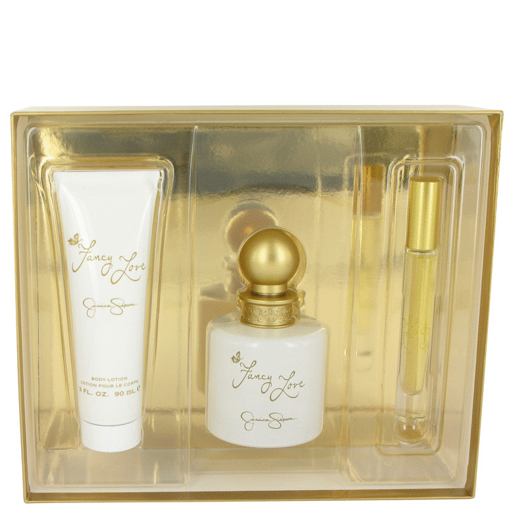 Fancy Love Gift Set -- Gift Set - 3.4 oz Eau De Parfum Spray + 3 oz Body Lotion + .2 oz EDP Rollerball for Women