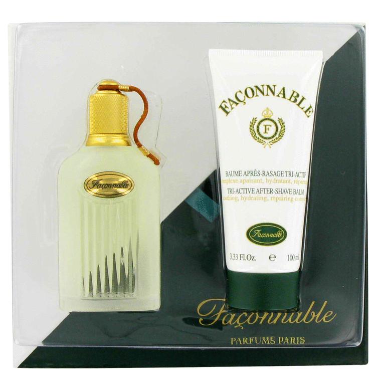 Faconnable Gift Set -- Gift Set -  1.66 oz Eau De Toilette Spray + 3.4 oz Tri-active Aftershave Balm for Men