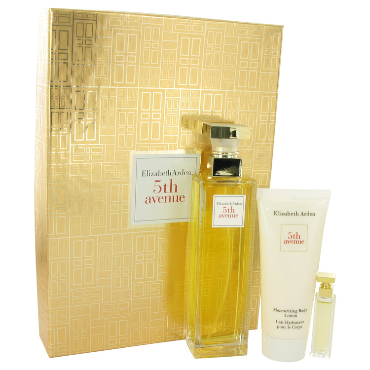 5TH AVENUE by Elizabeth Arden for Women Gift Set -- 4.2 oz Eau De Parfum Spray + .12 oz Mini + 3.3 oz Body Lotion