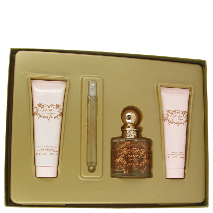 Fancy Gift Set -- Gift Set - 3.4 oz Eau De Parfum Spray + 3 oz Body Lotion + 3 oz Shower Gel + .34 oz Mini EDP Spray for Women