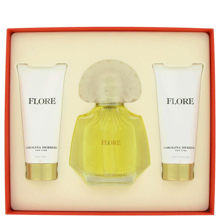 Flore Gift Set -- Gift Set - 3.4 oz Eau De Parfum Spray + 3.4 oz Body Lotion + 3.4 oz Shower Gel for Women