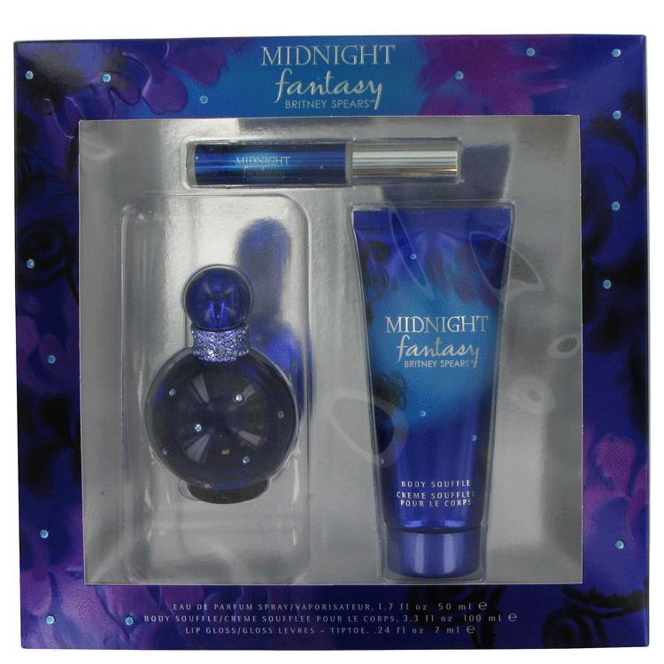 Fantasy Midnight Gift Set -- Gift Set - 1.7 oz Eau De Parfum Spray + 3.3 oz Body Souffle + .23 oz Lip Gloss for Women