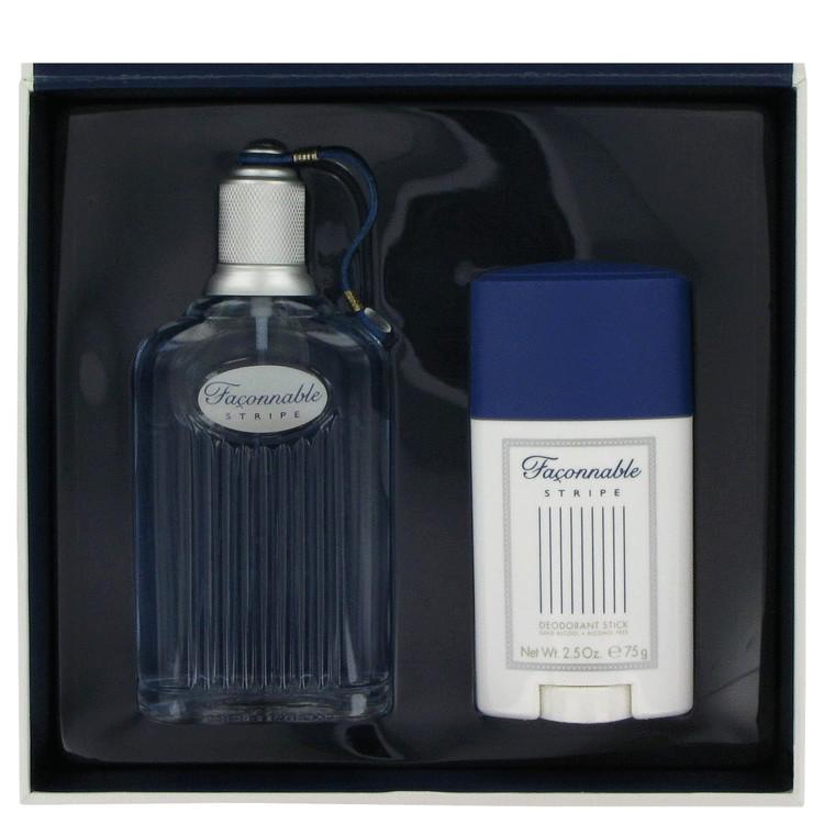 Faconnable Stripe for Men, Gift Set (3.3 oz EDT Spray + 2.5 oz Deodorant Stick)